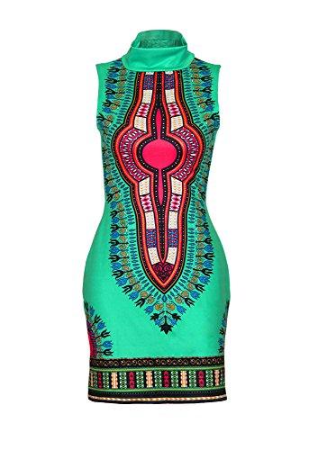 (shekiss Women Traditional African Print Dashiki Bodycon Sleeveless High Collar Dress Green)