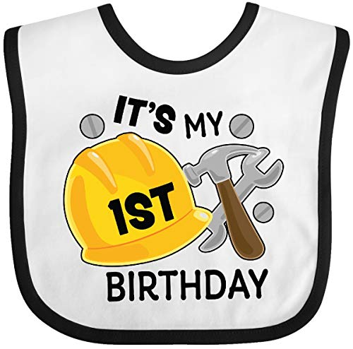 Inktastic - Its My 1st Birthday with Construction Baby Bib White/Black - 1st Birthday Outfit Construction