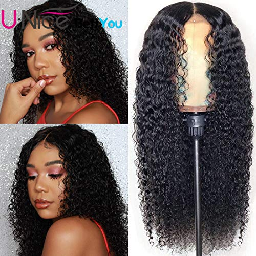 UNice Hair Jerry Curly 13x4 Lace Front Human Hair Wigs 14 Inch, 180% Density, Unprocessed Brazilian Virgin Hair Free Part Wig with Baby Hair Natural Black Color