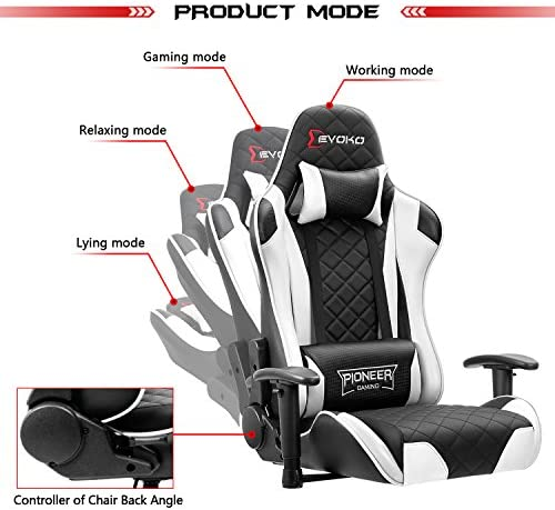 Devoko Racing Style Gaming Chair Height Adjustable Swivel PC Computer Chair with Headrest and Lumbar Support Leather Reclining Executive Office Chair (White) 51qMUZw1HvL