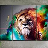 RAIN QUEEN Modern Abstract Art Colorful Lion Oil Paintings on Canvas Wall Art for Home Decoration Huge Size No Frame 3pcs