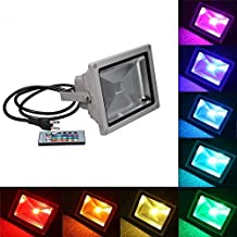 RioRand®50W Waterproof Outdoor Security LED Flood Light Spotlight High Powered RGB Color Change(16 Different Color Tones) with Plug and Remote Control AC95-240V