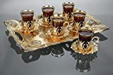 LaModaHome Tea and Coffee Set VIP Special Serving Turkish Tulip - Arabic, Moroccan Coffee Sets - Machine Washable Cup, Mug (Gold Tea Set with Tray)