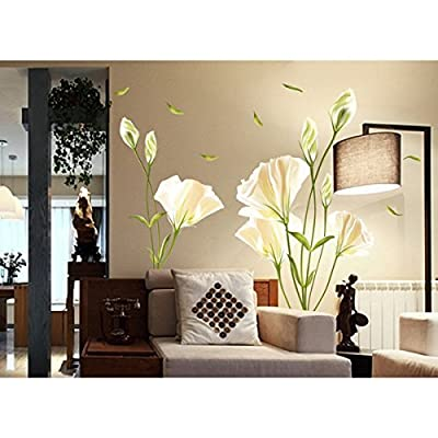CaseEver Elegant Lily Flower Decor Wall Sticker Decal Quote Removable Wallpaper Mural