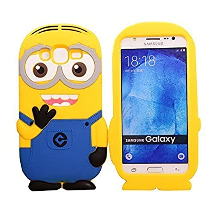 new concept 3b84a 3e724 ACCMART 3D Cartoon Minion Soft Rubber Silicone Back Cover for Samsung  Galaxy J7 2015 (Yellow)