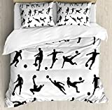 Ambesonne Soccer Duvet Cover Set Queen Size, Football Player Silhouettes Goalkeeper Striker Shooting Heading Volleying Saving, Decorative 3 Piece Bedding Set with 2 Pillow Shams, Black White
