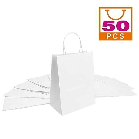 Mesha 50 bolsas de papel kraft blancas de 8 x 4.75 x 10.5 ...
