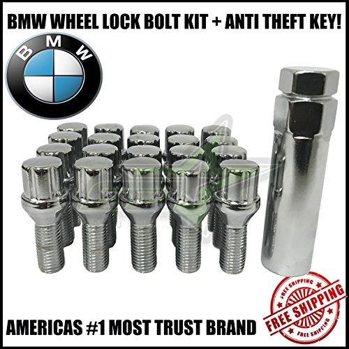 Supreme Engineering Technologies 20 BMW Lug Bolt Wheel Locks + Key 12x1.5 Fits M3 M5 335 135 E46 F10 F30 E36 (Chrome)