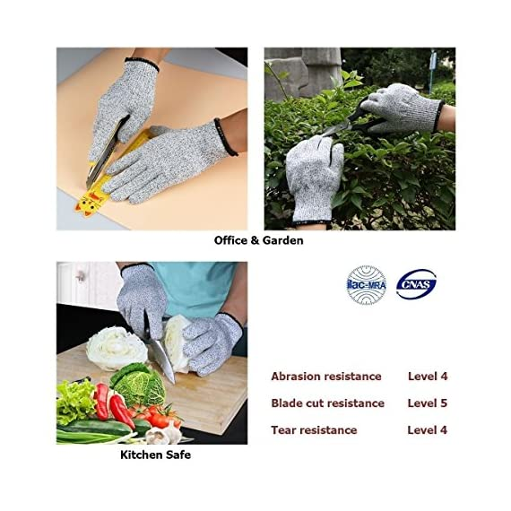 Venja New Kitchen Gloves Cooking Cut Resistant Gloves with Level 5 Protection Kitchen Glove Cutting Stand, Food Contact Safe Work Gloves 5