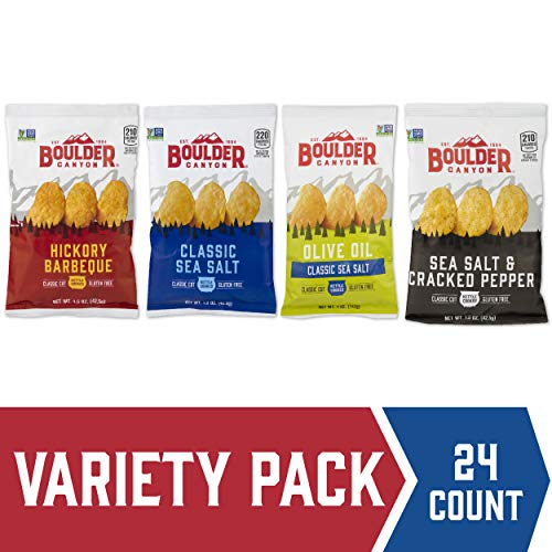 Boulder Canyon Kettle Cooked Potato Chips, Variety Pack, 1.5 oz. Bag, 24 Count - Gluten Free, Crunchy Chip, Great for Lunches or Snacking on the - Potato Salt Pepper Chips