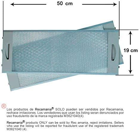 Recamania® - Filtro METÁLICO Campana TEKA CNL2000 (2unidades) 19x50cm. Válido para Modelo/s: TEKA, CNL2000.3 TEKA, CNL2000-TFL62 TEKA, CNL 1000 TEKA, CNL-1000 TEKA, CNL1000 TEKA, CNL2000: Amazon.es: Hogar