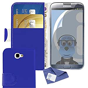 iTALKonline Samsung SCH-I605 Galaxy Note 2 Blue PU Leather Executive Multi-Function Wallet Case Cover Organiser Flip with Credit / Business Card Money Holder and 3 Layer LCD Screen Protector