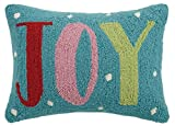 Peking Handicraft Joy Hook Wool Lumbar Pillow, Multicolored