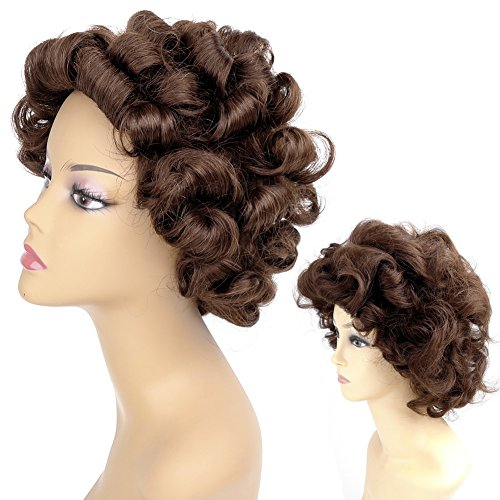 Ty.Hermenlisa 100% Real Virgin Brazilian Remy Human Hair Wigs for Black Women Natural Color Curly Short Bobs Hairpieces with Elastic Strap, 120g Darkest - Hair Made Wig
