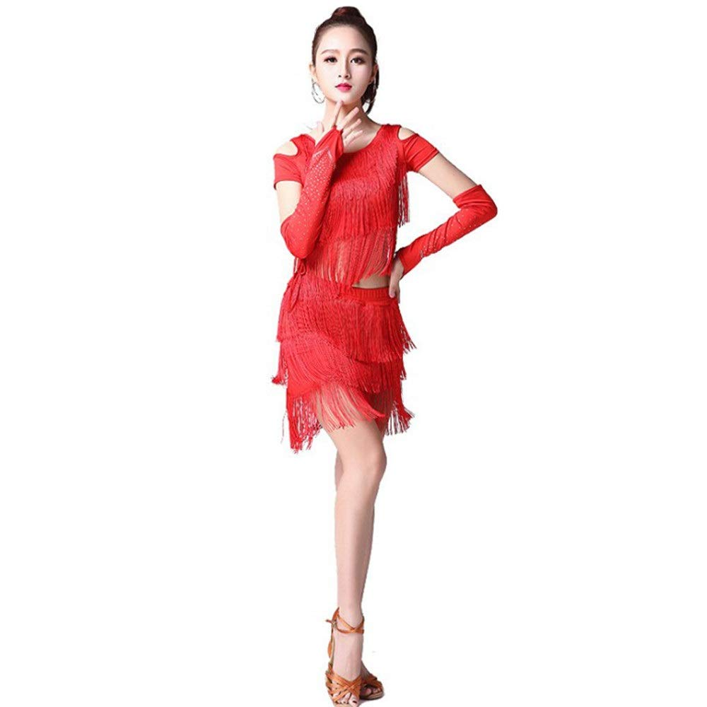 Red Large Women Dance Dress, Women Tassel Latin Dance Dress Outfit Short Sleeve Cold Shoulder Top with Dance Skirt Tango Rumba Ballroom Performance Dancewear Competition Costumes
