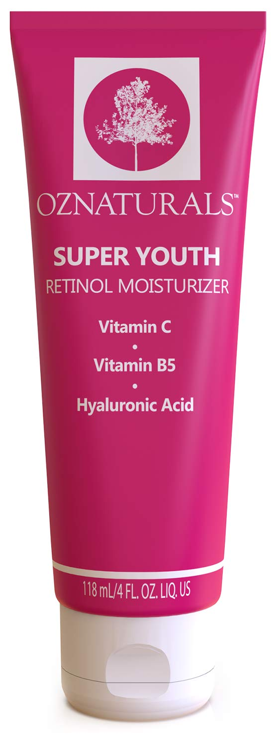 OZNaturals Face Moisturizer Retinol Cream: Super Youth Anti Aging Face Cream with Vitamin C, B5, Shea Butter, Hyaluronic Acid - Day and Night Skin Firming Retinol Moisturizer Wrinkle Cream - 4 Fl Oz by OZ Naturals