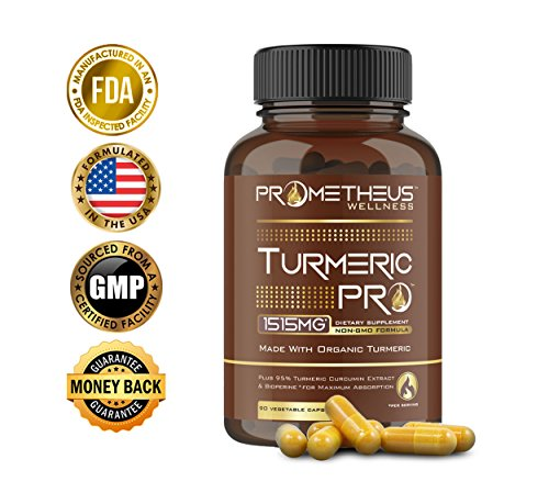Turmeric PRO Super Strength 95% Curcuminoids Organic Turmeric Curcumin with BioPerine 90 Veggie Capsules Joint Pain Relief Anti-Inflammatory Antioxidant Anti-Aging Black Pepper Extract for Absorption