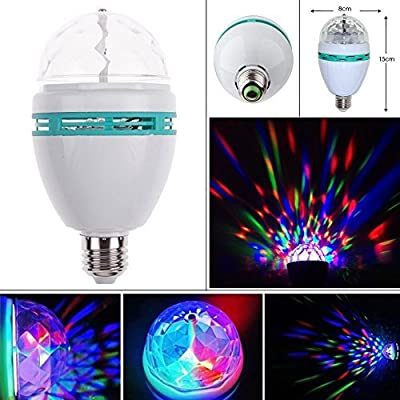 Crystal Stage Light -Eagwell Voice Control Rotating LED Strobe Bulb Multi Changing Color For Party Club Bar DJ. Ball,3-Watt, RGB