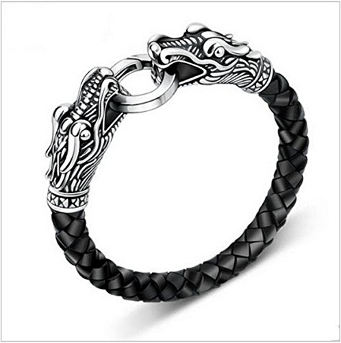 - Vintage Charm Men Dragon Jewelry Stainless Steel Bracelet