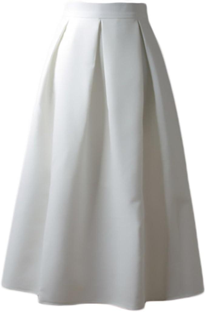 HaiDean Faldas Mujer Elegantes Cintura Alta Falda Plisada Años 50 ...