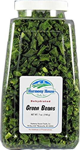 Harmony House Foods Dried Green Beans, cut (8 oz, Quart Size Jar) for Cooking, Camping, Emergency Supply, and - Harmony Green