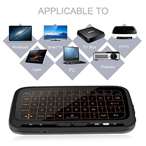 LinStar Teclado inalámbrico, topsellerstore H18 + 2.4GHz Full Touchpad Luz de fondo Mini teclado con control remoto de gran pantalla táctil para Smart TV ...