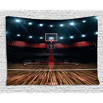 Ambesonne Teen Room Tapestry, Professional Basketball Arena Stadium Before The Game Championship Sports Image, Wide Wall Hanging for Bedroom Living Room Dorm, 60