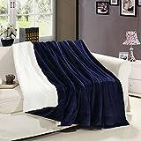 MUKKA Sherpa Fleece Blanket Twin Size Navy Blue Plush Throw Blanket Fuzzy Soft Blanket Microfiber