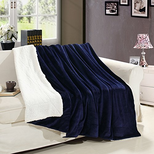 MUKKA Casual Mirofiber Flannel Sherpa Throw Blanket Gift for Woman and Kids Navy Blue, Reversible Plush Fleece Blanket- Twin 60