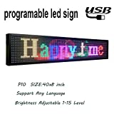 New LED sign 40'' x 8'' programmable led sign outdoor P10 RGB full color SMD scrolling led display message board perfect solution for advertising 1pcs