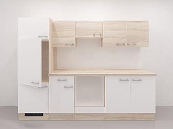 Sommerküche Module : Küchen leerzeile 955 salerno melamin weiss sonoma eiche dekor