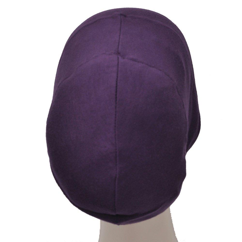 Silk Story Volumizer Hijab Turban Bun Underscarf Chemo Cap Hair Loss Cotton Lycra (Purple)