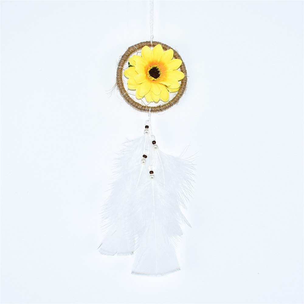 DrCor Small Sunflower Dream Catcher for Car Accessories Rearview Mirror Yellow Flower Sunflower Car Ornament Hanging Decor