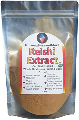 4oz Organic Red Reishi Mushroom Extracted from Real Mushroom Fruiting Bodies from Nammex | >30% Beta-Glucans | Ganoderma Lucidum, Ling Zhi | β-Glucan for Energy, Mental Health, Immune System