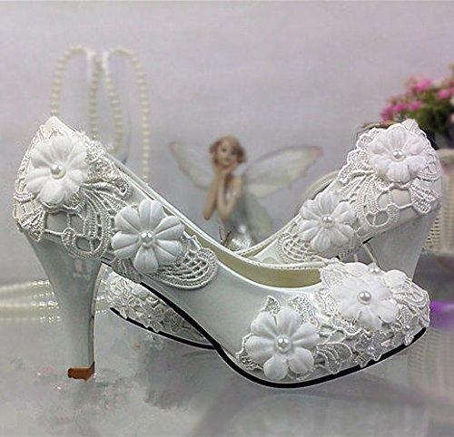 JINGXINSTORE Spitze weiß elfenbein Kristall Hochzeit Schuhe Braut Wohnungen low High Heel pump Größe 5 12 B075GJ2BYM Tanzschuhe Nicht so teuer