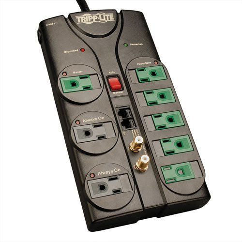 Tripp Lite 8 Outlet Surge Protector Power Strip 8ft Cord 2880 Joules Tel Modem Coax Ethernet Protection 150k Insurance Av88satg