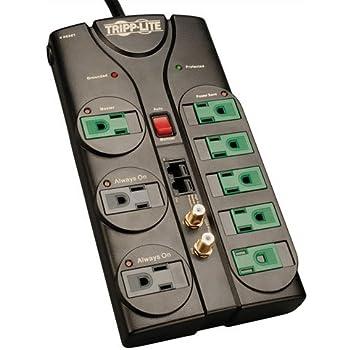 Tripp Lite 8 Outlet Eco-Surge Protector Power Strip Tel/Modem/Coax/Ethernet 8ft Cord Right Angle Plug (AV88SATG)