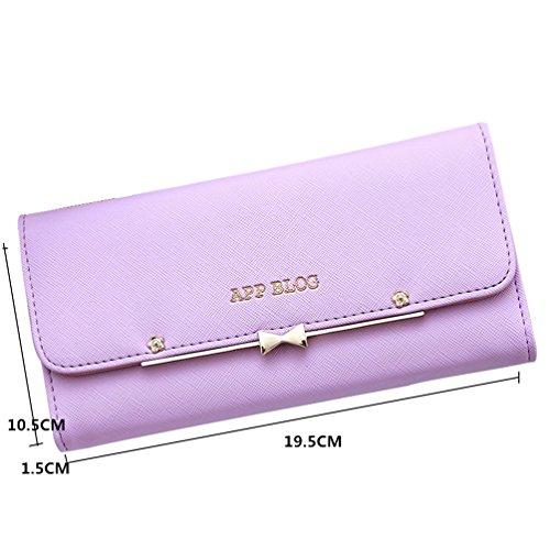 Holder Wallet Purple Envelope Women Purse Clutch Leather LIZHIGU Simple Card 5m647 Small 4qWzPUWwF