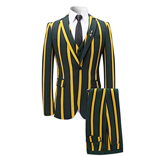 Double Breasted Striped Suit (YFFUSHI Men's Colored Striped 3 Piece Suit Slim Fit Tuxedo Blazer Jacket Pants Vest Set, Yellow, Small)