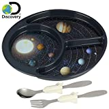 Discovery Space Explorer Meal Builder - 3 Piece Set for Kids & Toddlers - Cosmos Themed Plate, Fork & Spoon - Perfect for All Meals & Snacks - Promotes Portion Control - Dishwasher & Microwave Safe