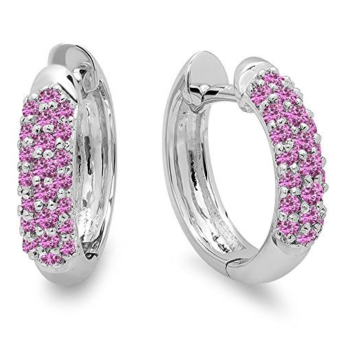 Dazzlingrock Collection 0.30 Carat ctw 10K Ladies Pave Set Huggies Hoop Earrings, White Gold