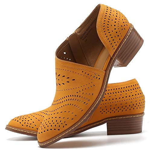 Susanny Womens Casual Loafers Slip on Ankle Leather Boots Cut Out Office Flat Shoes Yellow 7.5 B (M) US ()
