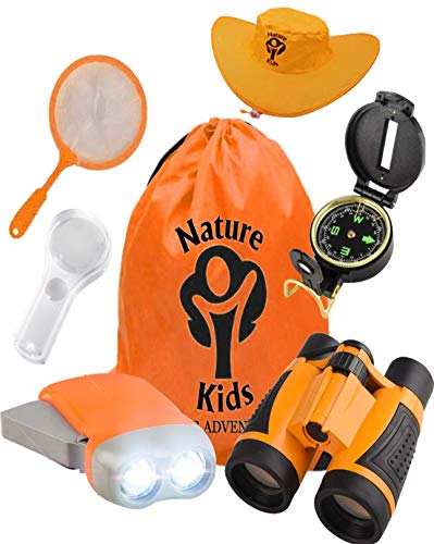 Adventure Kids - Outdoor Explorer Kit, Children's Toy Binoculars, Flashlight, Compass, Magnifying Glass, Butterfly Net & Backpack. Great Kids Gifts Set for Birthday, Camping, Hiking and Educational ()