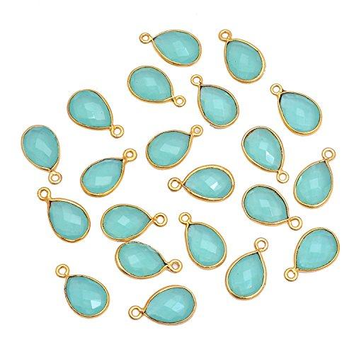 Elegantjewels 21 Pcs Aqua Chalcedony Pear 13x10mm Brass Gold Plated Single Loop Connector Pendant,Handmade Gemstone (One Loop Brass Setting)
