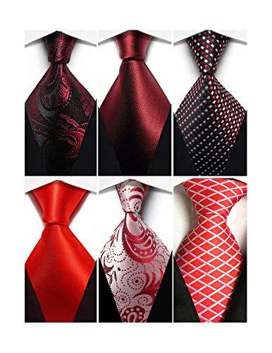 Wehug Lot 6 PCS Men's Classic Valentine Ties Silk Red Tie Woven Necktie Jacquard Neck Ties For Men style025 ()