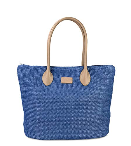 Hoxis Weekender Lightweight Synthetic Straw Shopper Tote Womens Shoulder Handbag (Blue) ()