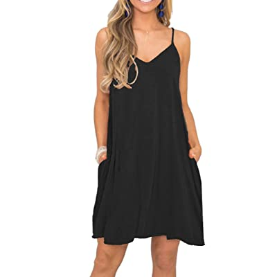 MISFAY Women's Summer Spaghetti Strap Casual Swing Tank Beach Cover Up Dress with Pockets at Women's Clothing store