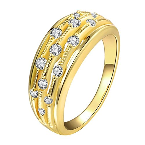 AmDxD Gold Plated Women Rings Gold Small White CZ Size 8