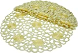 Xia Home Fashions Daisy Splendor 4-Pack Embroidered Cutwork Spring Round Doilies, 12-Inch, Yellow