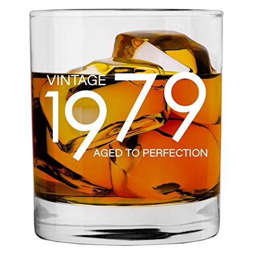 1979 40th Birthday Gifts for Men and Women Whiskey Glass | Bourbon Scotch Glasses 40th Bday Gift Ideas for Him Her Dad Mom Husband Wife | 11 oz Whisky Old Fashioned Bar Glasses Lowball Decorations